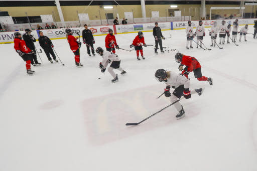 In this photo taken Monday, Nov. 4, 2019, members of the Canada Women's National hockey team drill during their practice in Cranberry Township, Butler County, Pa. Many of the top womens hockey players on the planet say theyre resolute in their decision to not play professionally in North America until a new league that provides better pay and better benefits materializes. (AP Photo/Keith Srakocic)