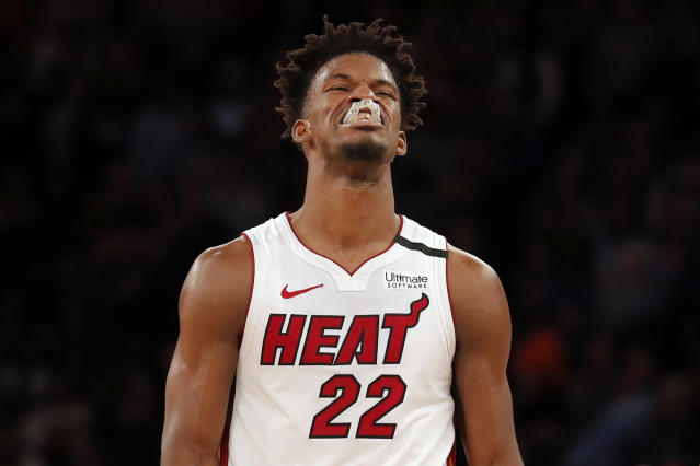 Miami Heat's Jimmy Butler reacts after missing a shot during the second half of the NBA basketball game against the New York Knicks, Sunday, Jan. 12, 2020, in New York. The Knicks defeated the Heat 124-121. (AP Photo/Seth Wenig)
