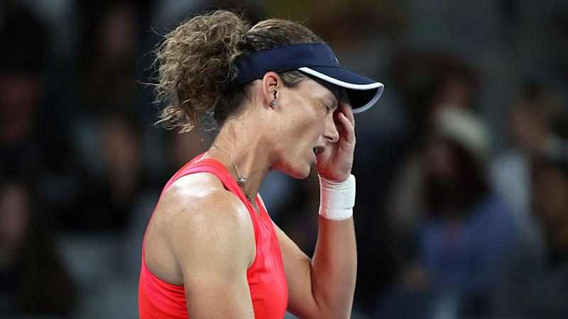 Seen here, Sam Stosur was knocked out of the Australian Open first round for a fifth straight year.