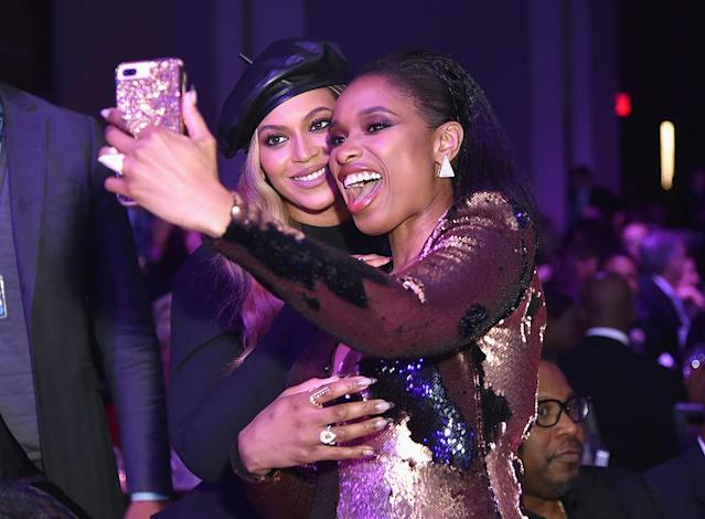 <p>The <em>Dream Girls</em> stars reunited for a selfie at Clive Davis's Grammy Salute to Industry Icons, which honored Bey's man Jay-Z, on Saturday in New York City. (Photo: Mike Coppola/Getty Images) </p>