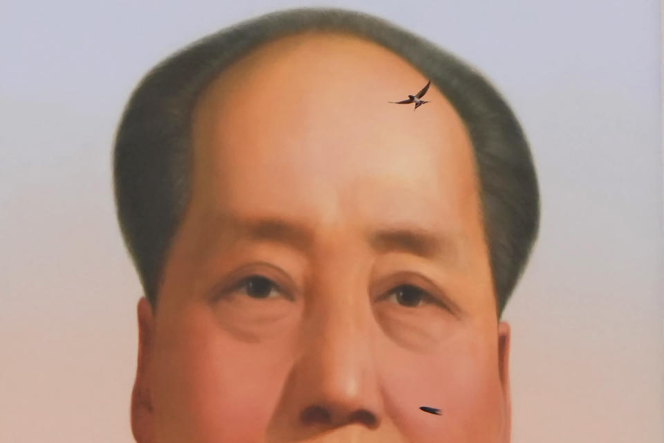 A swallow flies near the portrait of late Chinese leader Mao Zedong during a ceremony to mark the 100th anniversary of the founding of the ruling Chinese Communist Party at Tiananmen Gate in Beijing Thursday, July 1, 2021. (AP Photo/Ng Han Guan)
