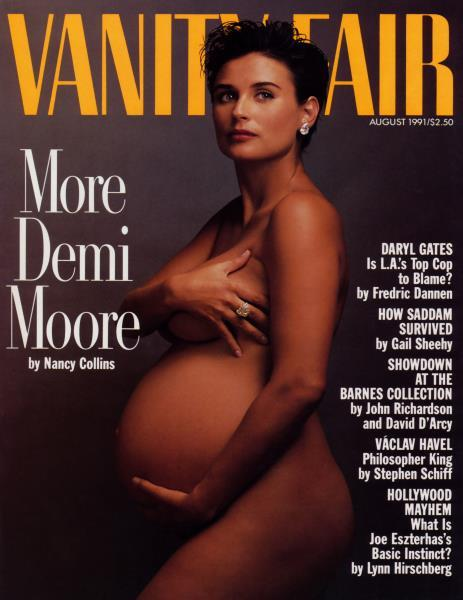 "Moore posed for the cover of ""Vanity Fair"" while pregnant with Scout Willis. (Photo: Vanity Fair)"
