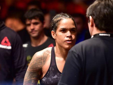 May 12, 2018; Rio de Janeiro, RJ, Brazil; Amanda Nunes before a fight against Raquel Pennington (not seen)​​ during UFC 224 at Jeunesse Arena. Mandatory Credit: Jason Silva-USA TODAY Sports