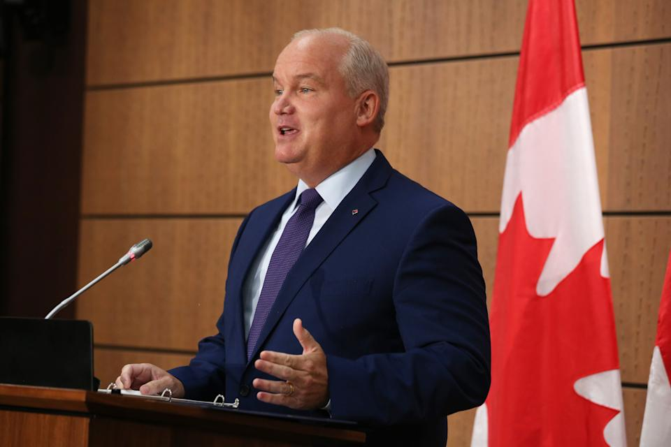 Conservative Party of Canada leader Erin O'Toole speaks during a news conference on Parliament Hill August 25, 2020 in Ottawa, Ontario. - Canadian Conservatives on August 24, 2020 announced their new leader, former air force navigator Erin O'Toole, who will quickly have to get the party battle-ready to challenge liberal Prime Minister Justin Trudeau in possible snap elections. Following a largely virtual campaign due to the coronavirus epidemic, O'Toole, 47, was proclaimed the winner early Monday after a record 175,000 voted in the party race. (Photo by Dave Chan / AFP) (Photo by DAVE CHAN/AFP via Getty Images)