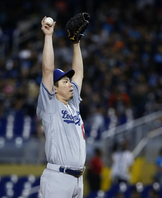 Los Angeles Dodgers' Kenta Maeda, of Japan, prepares to pitch during the first inning of a baseball game against the Miami Marlins, Thursday, May 17, 2018, in Miami. (AP Photo/Wilfredo Lee)