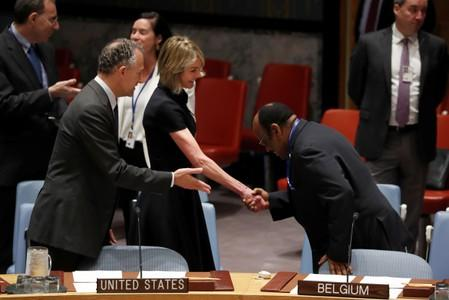 New U.S. Ambassador to the United Nations Kelly Craft is greeted by U.N. Ambassador from Equatorial Guinea during U.N. Security Council meeting at U.N. headquarters in New York