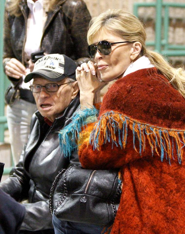 """Is there something in the air? In one of the many break-ups to hit the headlines this week, Larry King filed for divorce from his seventh wife Shawn Southwick on Wednesday amidst allegations of cheating on both sides. The pair put on a show of solidarity at their son's Little League baseball match Thursday afternoon. IVON-LU82/<a href=""""http://www.x17online.com"""" target=""""new"""">X17 Online</a> - April 15, 2010"""