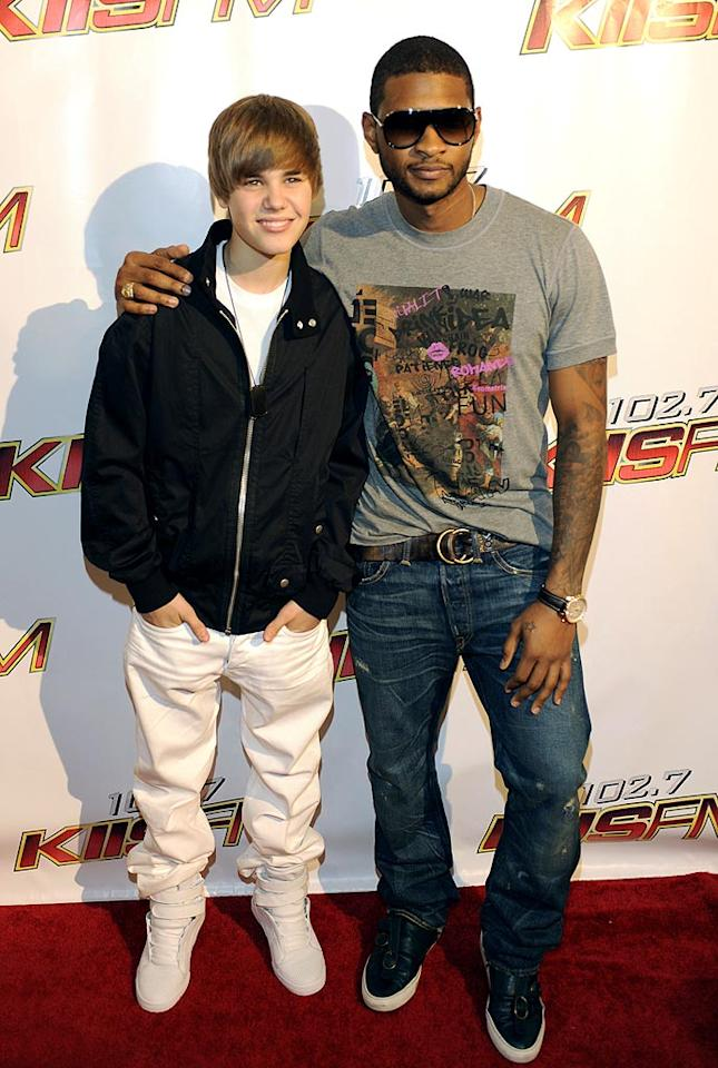 "Justin Bieber and his mentor Usher hung out on the red carpet together before hitting the stage separately. Which one of them would you rather see in concert? Tim Mosenfelder/<a href=""http://www.gettyimages.com/"" target=""new"">GettyImages.com</a> - May 15, 2010"