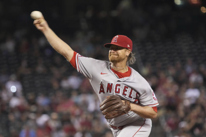Los Angeles Angels pitcher Alex Cobb throws against the Arizona Diamondbacks in the first inning during a baseball game, Saturday, June 12, 2021, in Phoenix. (AP Photo/Rick Scuteri)