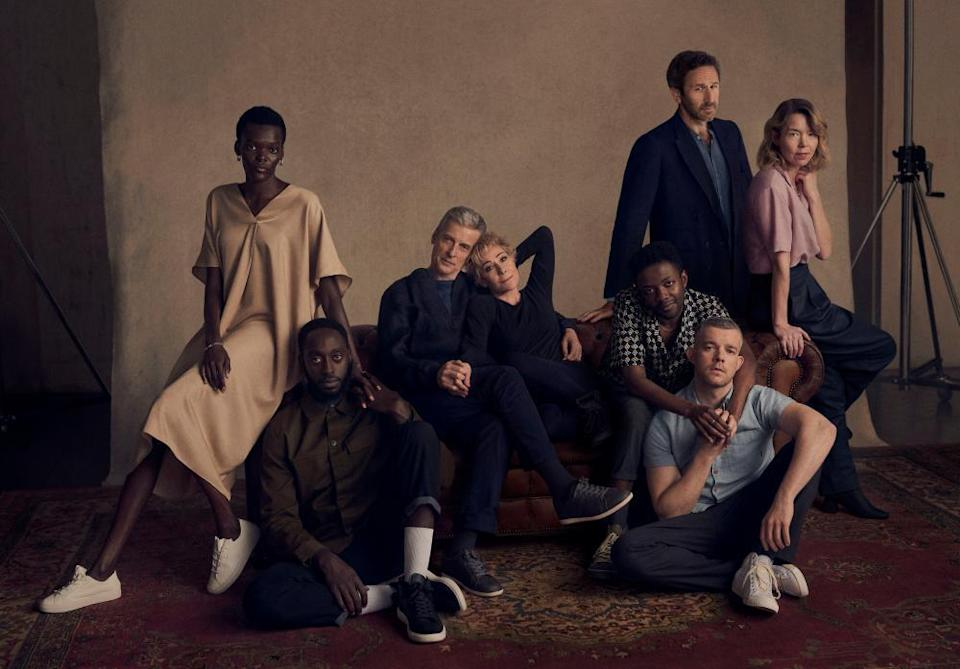 The full cast of Constellations, with (left to right) Atim and Jeremiah, Peter Capaldi and Zoë Wanamaker, Omari Douglas and Russell Tovey, and Chris O'Dowd and Anna Maxwell Martin.