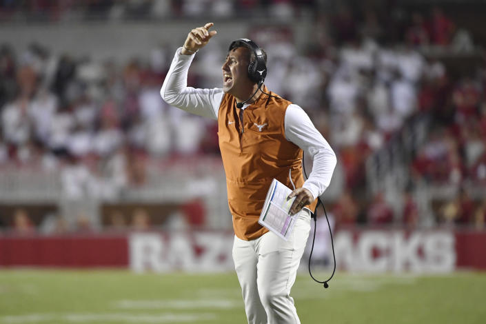Texas coach Steve Sarkisian reacts after a call during the second half of the team's NCAA college football game against Arkansas on Saturday, Sept. 11, 2021, in Fayetteville, Ark. (AP Photo/Michael Woods)