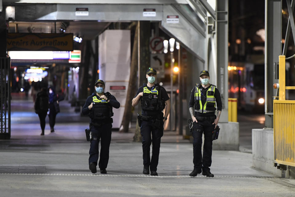 Protective Service Officers patrol Swanston street on Sunday night. Source: AAP