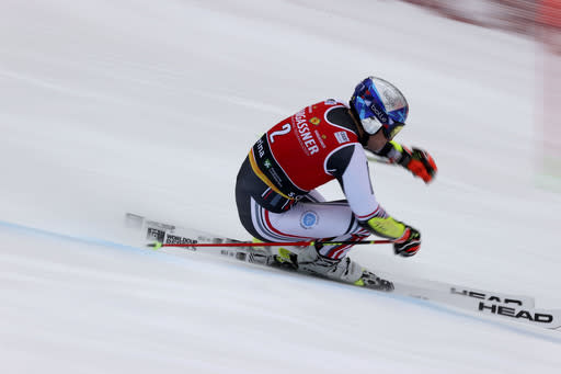 France's Alexis Pinturault competes during the first run of an alpine ski, World Cup men's giant slalom in Santa Caterina Valfurva, Italy, Saturday, Dec. 5, 2020. (AP Photo/Alessandro Trovati)