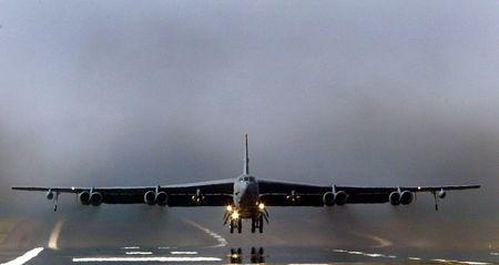U.S. Air Force B-52 bomber takes off from RAF Fairford in Gloucestershire, England