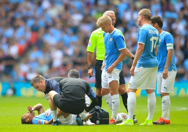 Sane suffered cruciate ligament damage in the Community Shield clash with Liverpool last August (Adam Davy/PA)