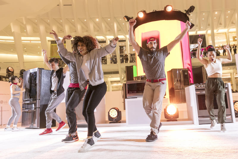 """At an LG InstaView Refrigerator event in New York on March 7, 2017, LG Electronics treated commuters to surprise musical renditions of chart-topping songs including DNCE's """"Cake by the Ocean"""" and Dua Lipa's """"Blow Your Mind,"""" featuring sounds generated by knocking twice on the LG InstaView glass panel – a refrigerator technology that allows users to see inside without opening the door. The creative interpretations were created by Andrew Huang, a music producer known for creating memorable musical experiences using non-traditional instruments."""
