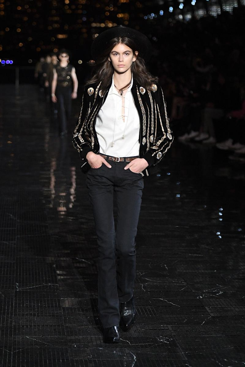 Kaia Gerber walks the runway at the Saint Laurent Resort 2019 Runway Show on June 6, 2018 in New York City. Photo courtesy of Getty Images.