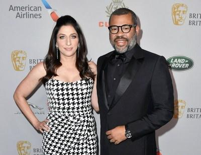 Jordan Peele and wife, actress Chelsea Peretti at the 2019 British Academy Britannia Awards presented by American Airlines, Land Rover and Jaguar; where Peele accepted the John Schlesinger Britannia Award for Excellence in Directing presented by Cunard (Photo:BAFTA LA).