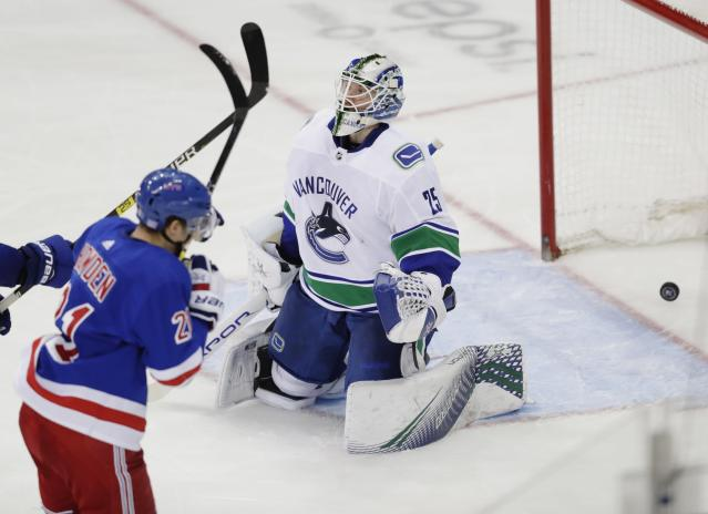 Vancouver Canucks goaltender Jacob Markstrom (25) reacts after New York Rangers' Brett Howden (21) scored a goal during the third period of an NHL hockey game Monday, Nov. 12, 2018, in New York. The Rangers won 2-1. (AP Photo/Frank Franklin II)