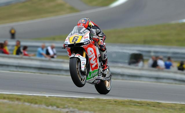 Moto GP rider Stefan Bradl of Germany speeds his Honda during the free practice session ahead of tomorrow's Czech Republic MotoGP category on August 25, 2012 in Brno. AFP PHOTO/ MICHAL CIZEKMICHAL CIZEK/AFP/GettyImages