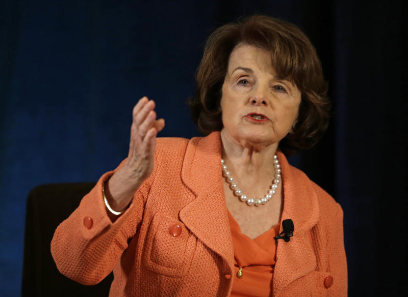 U.S. Sen. Dianne Feinstein gestures while speaking about gun violence at the Commonwealth Club in San Francisco, Wednesday, April 3, 2013. Feinstein spoke to the group about guns and drones. (AP Photo/Eric Risberg)