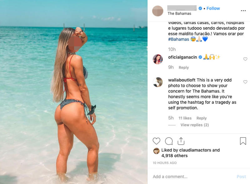 This picture shows a woman in a bikini standing in the water on a beach in the Bahamas. Source: Instagram