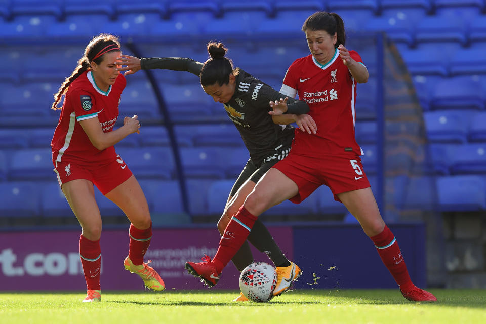 BIRKENHEAD, ENGLAND - OCTOBER 07: Christen Press of Manchester United Women  during the FA Women's Continental League Cup match between Liverpool FC Women and Manchester United Women at Prenton Park on October 7, 2020 in Birkenhead, England. (Photo by Matthew Ashton/Getty Images)