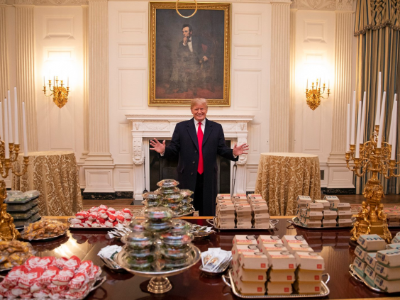 Donald Trump shows off a fast food spread in the White House
