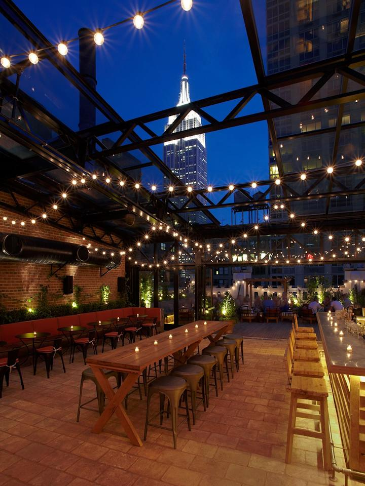 """<p>Unlike some of NYC's rooftop options, the topper on the <a href=""""https://www.refineryhotelnewyork.com/dine-and-drink/refinery-rooftop/"""" target=""""_blank"""">Refinery Hotel</a> lets you drink in tasty cocktails and spectacular views of the Empire State Building year round thanks to a retractable glass roof. The spot offers nibbling options like flatbreads to complement seasonal cocktails and a curated list of mocktails so that no one in your group feels left out. </p>"""