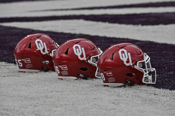 PHOTO: A general view of Oklahoma Sooners helmets on the field prior to the game against the Kansas State Wildcats on Oct. 21, 2017 at Bill Snyder Family Stadium in Manhattan, Kan. (Peter G. Aiken/Getty Images, FILE)