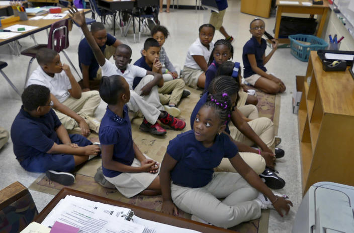 Students in teacher Marie Calabro's fifth-grade class on the first day of year-round school at Bruns Academy on July 24, 2017, in Charlotte, N.C. (Photo: Davie Hinshaw/The Charlotte Observer via AP)