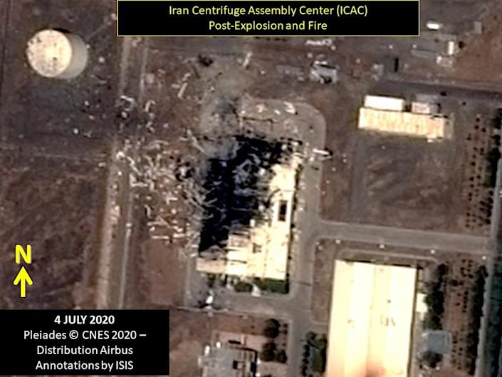 A satellite image of the Iran Centrifuge Assembly Center building on July 4, 2020, two days after an explosion.