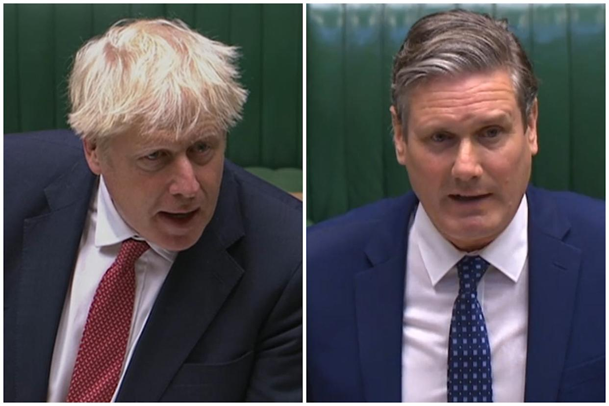 Boris Johnson and Keir Starmer clashed over IRA comments. (PA)