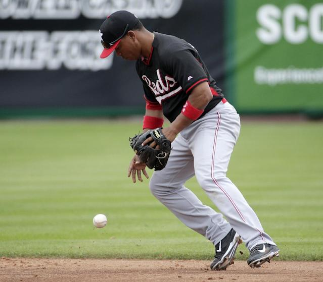 Cincinnati Reds shortstop Ramon Santiago fields a ball hit by San Francisco Giants catcher Buster Posey during the second inning of a spring training baseball game in Scottsdale, Ariz., Thursday, March 6, 2014. (AP Photo/Chris Carlson)