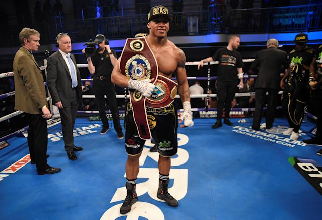 Boxing - Anthony Yarde vs Tony Averlant - WBO Inter-Continental & European Light-Heavyweight Titles - York Hall, Bethnal Green, London, Britain - February 24, 2018 Anthony Yarde celebrates after winning his fight against Tony Averlant Action Images via Reuters/Adam Holt