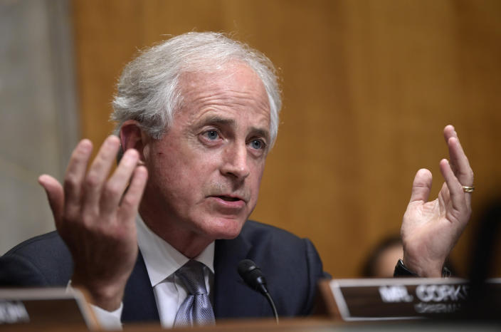 FILE - In this July 25, 2018, file photo, Sen. Bob Corker, R-Tenn., questions Secretary of State Mike Pompeo as he testifies before the Senate Foreign Relations Committee on Capitol Hill in Washington, during a hearing on diplomacy and national security. The ranks of the forgotten Republicans are growing. They are members of Congress, governors and state party leaders who have been left behind by President Donald Trump's Republican Party. (AP Photo/Susan Walsh, File)