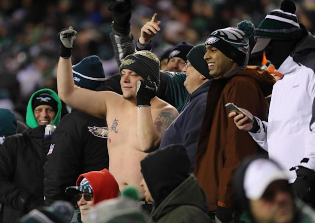"<a class=""link rapid-noclick-resp"" href=""/nfl/teams/phi/"" data-ylk=""slk:Philadelphia Eagles"">Philadelphia Eagles</a> fans during the team's victory over the <a class=""link rapid-noclick-resp"" href=""/nfl/teams/atl/"" data-ylk=""slk:Atlanta Falcons"">Atlanta Falcons</a> in the NFC divisional round. (Getty)"