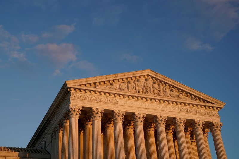 A general view of the U.S. Supreme Court building at sunset in Washington