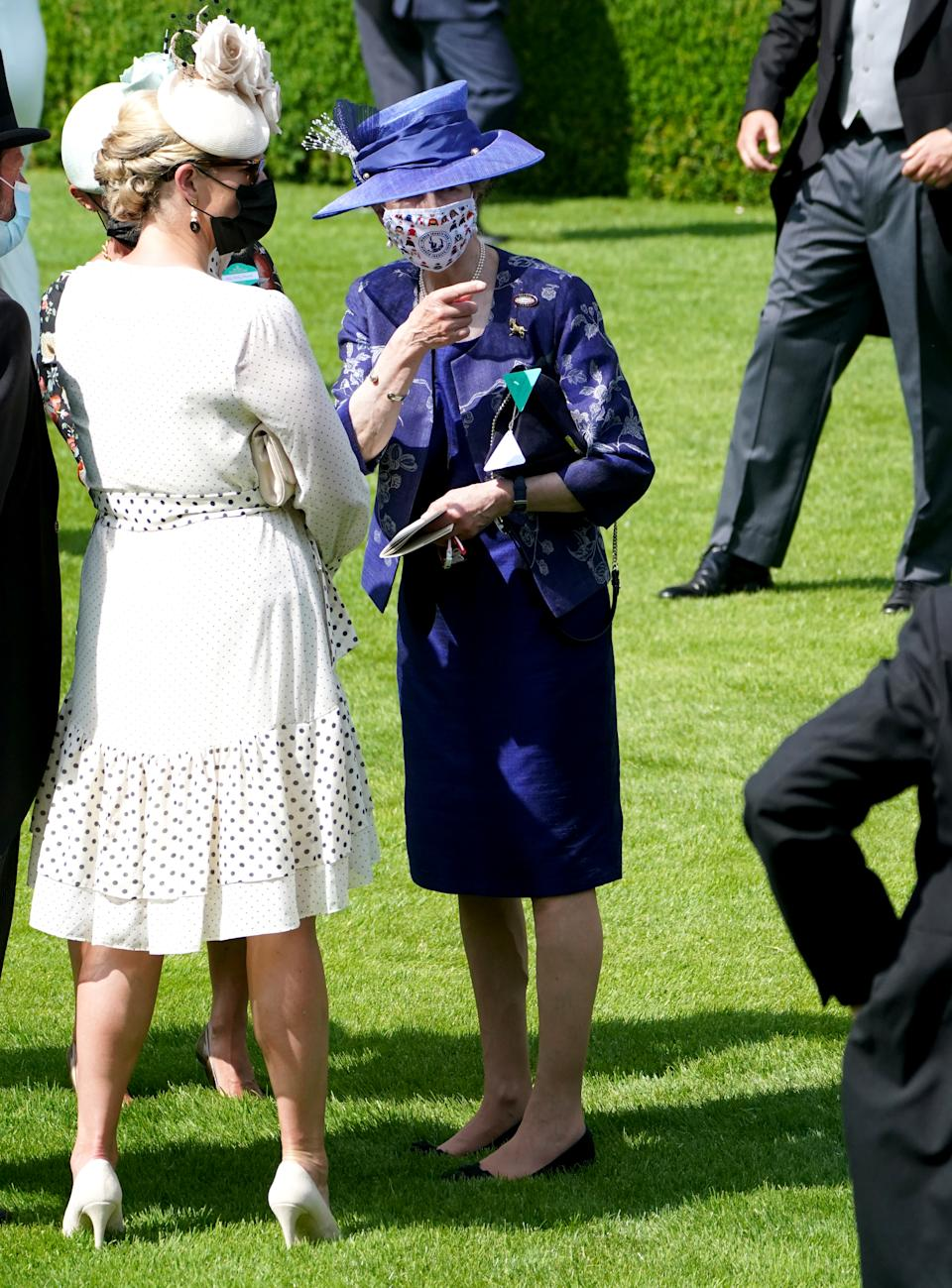The Princess Royal (right) speaks to Zara Tindall ahead of the King's Stand Stakes during day one of Royal Ascot. (PA image)