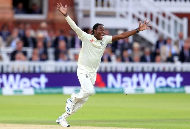 Jofra Archer celebrates his first Test wicket after trapping Cameron Bancroft lbw