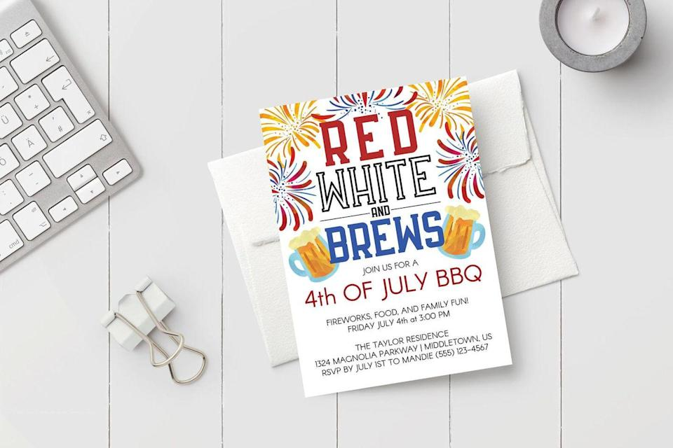 """<p>Sure, you could send out a quick group text, but a true paper invitation helps set the tone for a fun and festive Fourth of July party. </p><p><a class=""""link rapid-noclick-resp"""" href=""""https://go.redirectingat.com?id=74968X1596630&url=https%3A%2F%2Fwww.etsy.com%2Flisting%2F616109455%2Fprintable-4th-of-july-invitation-instant%3Fga_order%3Dmost_relevant%26ga_search_type%3Dall%26ga_view_type%3Dgallery%26ga_search_query%3D4th%2Bof%2Bjuly%2Binvitations%26ref%3Dsr_gallery-1-10%26organic_search_click%3D1&sref=https%3A%2F%2Fwww.oprahmag.com%2Flife%2Fg32715018%2Ffourth-of-july-party-ideas%2F"""" rel=""""nofollow noopener"""" target=""""_blank"""" data-ylk=""""slk:SHOP INVITATION"""">SHOP INVITATION</a></p>"""