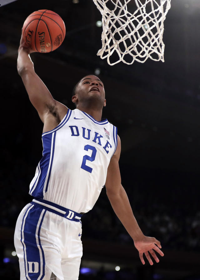 Duke guard Cassius Stanley goes in for a dunk during the second half of the team's NCAA college basketball game against Kansas on Tuesday, Nov. 5, 2019, in New York. (AP Photo/Adam Hunger)