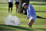 Lydia Ko, of New Zealand, hits out of bunker onto the 17th green during the third round of the Marathon Classic LPGA golf tournament Saturday, Aug. 8, 2020, at the Highland Meadows Golf Club in Sylvania, Ohio. (AP Photo/Gene J. Puskar)