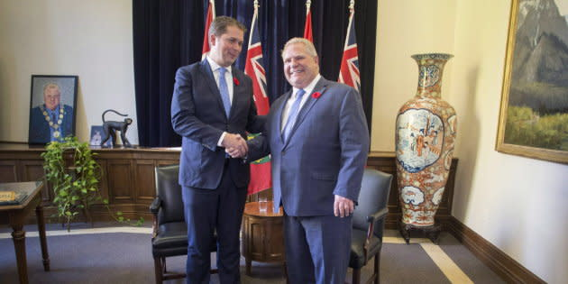 Ontario Premier Doug Ford meets with Federal Conservative Leader Andrew Scheer in the Queens Park Legislature in Toronto on Oct. 30, 2018.