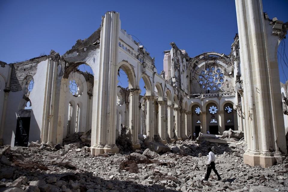 The remains of the National Cathedral January, 2011 in Port-au-Prince, Haiti. The Cathedral was destroyed during the January 2010 earthquake.  (Photo: Jonathan Torgovnik/Getty Images)