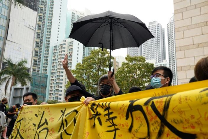 Supporters queue up outside West Kowloon Magistrates' Courts in Hong Kong