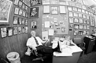 FILE - Los Angeles Dodgers manager Tommy Lasorda goes through congratulatory mail after the Dodgers won the 1981 World Series is in his office in Los Angeles, in this Oct. 29, 1981, file photo. Tommy Lasorda, the fiery Hall of Fame manager who guided the Los Angeles Dodgers to two World Series titles and later became an ambassador for the sport he loved during his 71 years with the franchise, has died. He was 93. The Dodgers said Friday, Jan. 8, 2021, that he had a heart attack at his home in Fullerton, California. (AP Photo/Rasmussen, File)