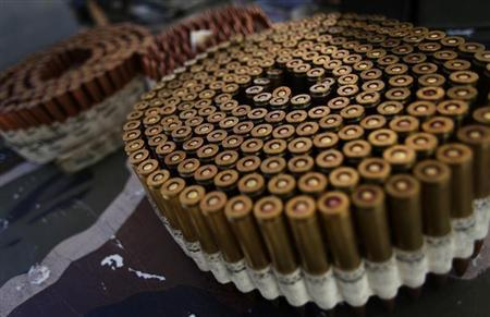 Bullets are displayed on a table during the Big Sandy Shoot in Mohave County