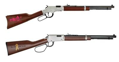 "The ""Sweet Sadie"" edition rifle (top) and the ""Beat It Like Beckett"" edition rifle (bottom) are available for sale through Henry Repeating Arm's website. All proceeds will be given to the children's families."