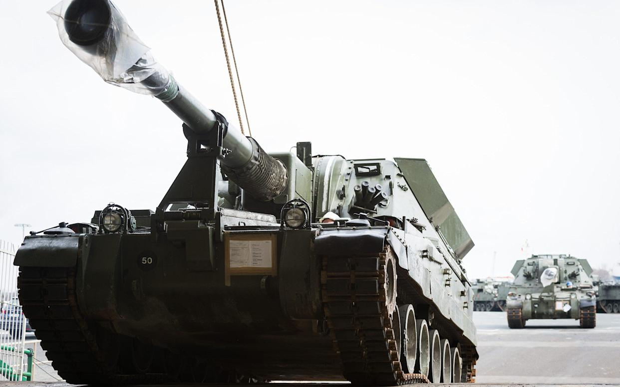 <span>A British Army AS90 self propelled gun arrives in the port of Emden, Germany to be loaded and transported to Estonia </span> <span>Credit: Dominic King/Army press office Germany </span>